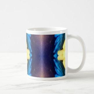 Motif jaune bleu moderne frais de Rtistic Mug Blanc
