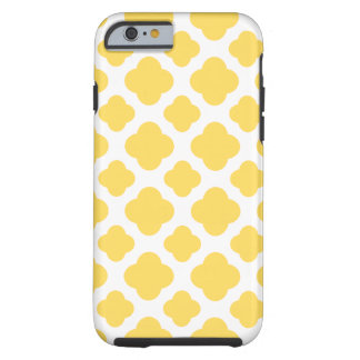 Motif jaune citron et blanc de Quatrefoil Coque iPhone 6 Tough