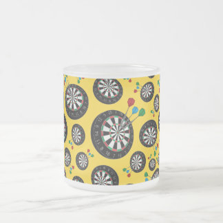 Motif jaune de cible mug en verre givré