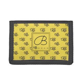 Motif jaune de monogramme d'abeilles d'été