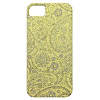 Motif jaune de Paisley de tissu Étui iPhone 5