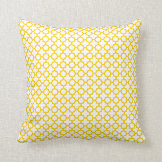 Motif jaune de Quatrefoil Oreiller