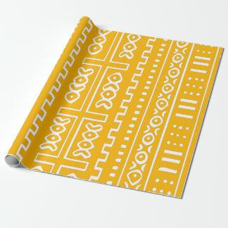 Motif jaune de tissu de boue papier cadeau