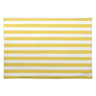 Motif jaune et blanc de rayure set de table
