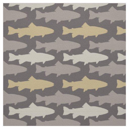 motif jaune et gris de poissons de truite tissu zazzle. Black Bedroom Furniture Sets. Home Design Ideas