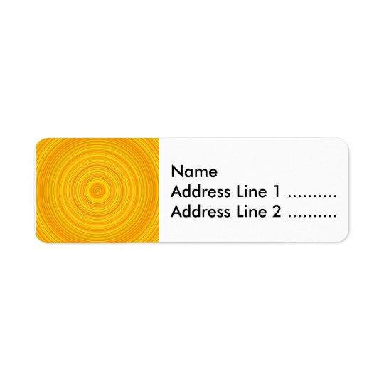 Motif jaune et orange de cercle/anneau étiquette d'adresse retour