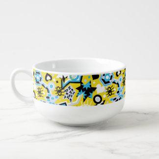 Motif jaune lumineux de cool d'art de bruit de bol à potage