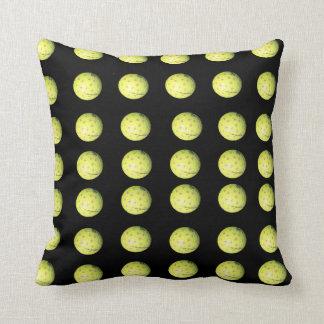 Motif jaune noir de boule de golf, coussin de jet
