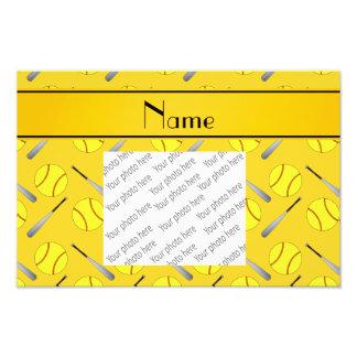 Motif jaune nommé personnalisé du base-ball impression photo