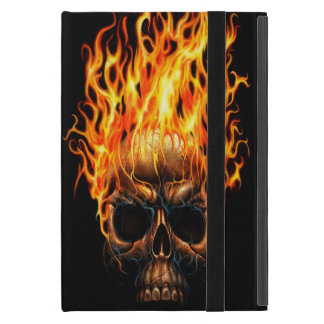 Motif jaune-orange de flammes du feu de crâne protection iPad mini
