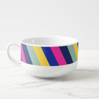 Motif jaune rose coloré élégant de rayures bleues mug à soupe