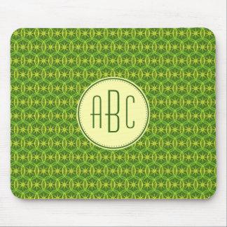 Motif jaune vert de roue de bicyclette de tapis de souris