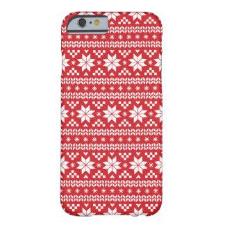 Motif juste rouge de chandail de Noël d'île Coque iPhone 6 Barely There
