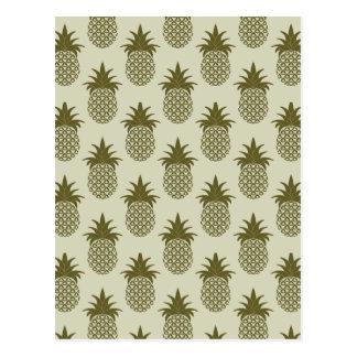 Motif kaki d'ananas cartes postales