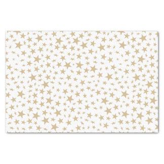 Motif léger d'impression d'étoiles d'or papier mousseline