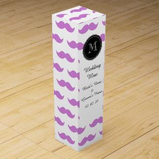 Motif lilas de moustache, monogramme blanc de boîte cadeau pour bouteille de vin