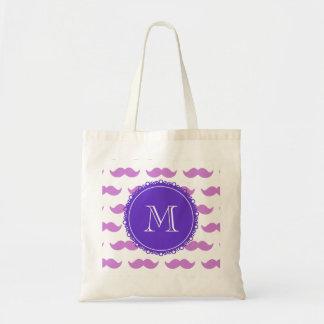 Motif lilas de moustache, monogramme blanc pourpre sac