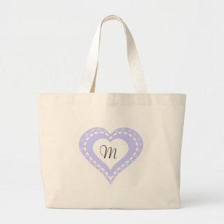 Motif lilas et blanc de coeur décoré d'un monogram sac en toile jumbo