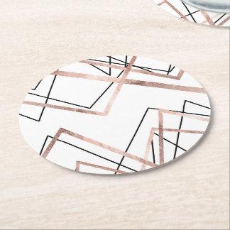 Motif linéaire blanc d'abrégé sur triangle d'or dessous-de-verre rond en papier