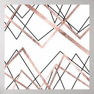 Motif linéaire blanc d'abrégé sur triangle d'or poster