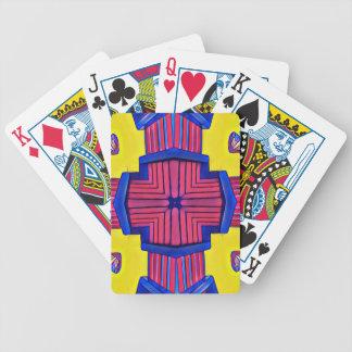Motif linéaire moderne magenta de jaune de bleu jeu de cartes