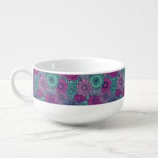 Motif lumineux élégant des fleurs magnifiques mug à soupe
