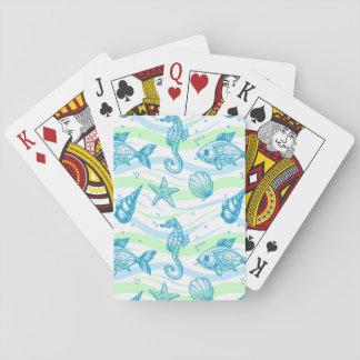 Motif marin de croquis jeux de cartes