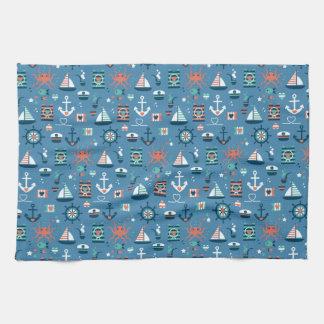 Motif maritime de capitaine nautique bleu mignon serviette éponge