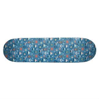 Motif maritime de capitaine nautique bleu mignon skateboard 21,6 cm