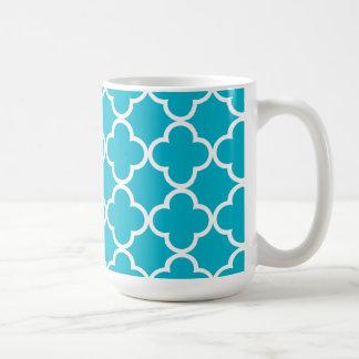 Motif marocain blanc bleu de Quatrefoil de Mug