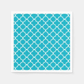 Motif marocain blanc bleu de Quatrefoil de Serviettes En Papier