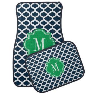Motif marocain de bleu marine avec le monogramme v tapis de sol