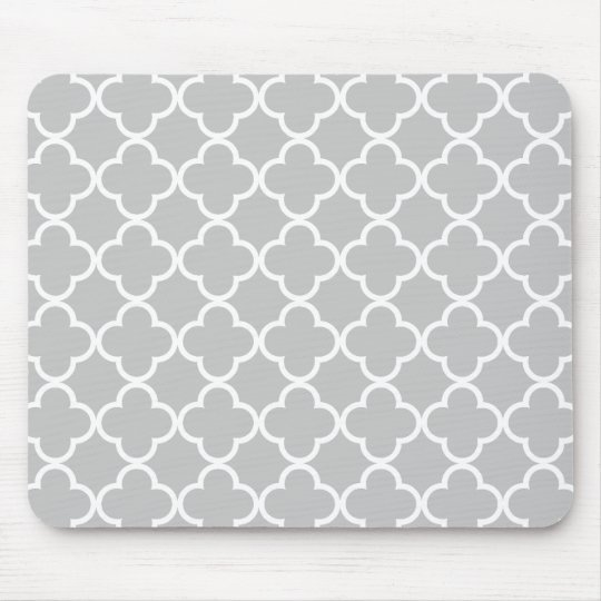 motif marocain de quatrefoil de blanc gris tapis de souris zazzle. Black Bedroom Furniture Sets. Home Design Ideas