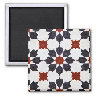 Motif marocain de tuile de forme d'étoile magnet carré