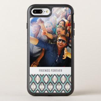 Motif marocain de turquoise de photo et de textes coque OtterBox symmetry iPhone 8 plus/7 plus