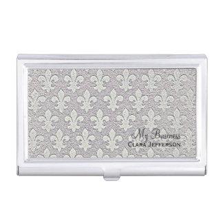 Motif métallique argenté de fleur de lis de regard porte-cartes de visite