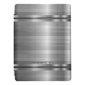 Motif métallique de rayures de gris argenté protection iPad pro