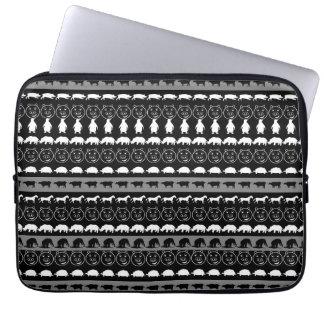 Motif mignon blanc noir #2 d'animaux housse ordinateur portable