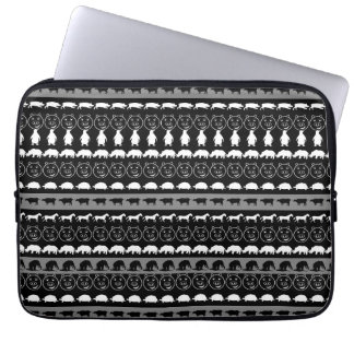 Motif mignon blanc noir #2 d'animaux protection pour ordinateur portable