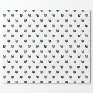 Motif mignon chic noir et blanc de chat papier cadeau noël