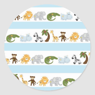 Motif mignon d'animaux de jungle adhésifs ronds