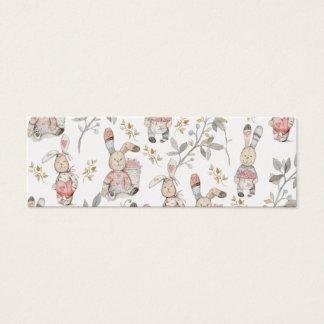 Motif mignon d'aquarelle de lapins de Pâques Mini Carte De Visite