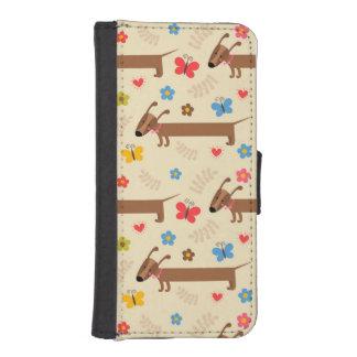 Motif mignon de basset allemand de chien pour le p coques avec portefeuille pour iPhone 5