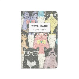 Motif mignon de chats de hippie carnet de poche