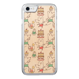 Motif mignon de dessin de chef de boulangerie de coque en bois iPhone 7