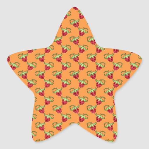 Motif mignon de fraises autocollants en étoile