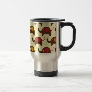 Motif mignon de nature de kawaii d'éléphants de mug de voyage
