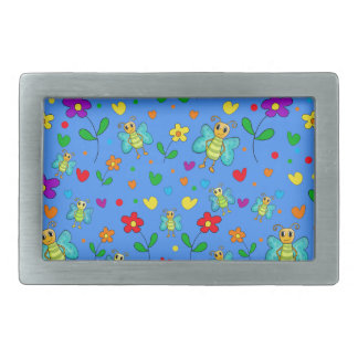 Motif mignon de papillons et de fleurs - bleu boucle de ceinture rectangulaire