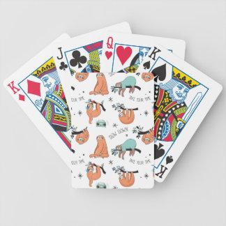Motif mignon de paresse jeu de cartes