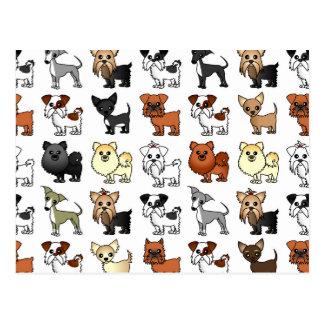Motif mignon de race de chien de jouet carte postale